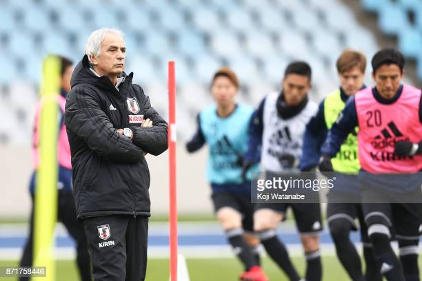 Japan coach Vahid Halilhodzic in action during a Japan training session ahead of the international friendly against Brazil on November 8 2017 in...