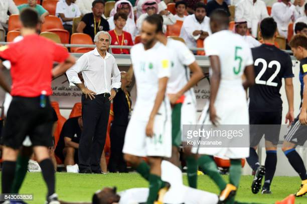 Japan coach Vahid Halilhodzic in action during the FIFA World Cup qualifier match between Saudi Arabia and Japan at the King Abdullah Sports City on...