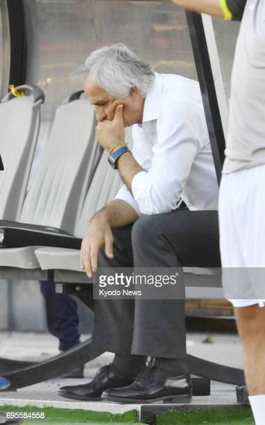 Japan coach Vahid Halilhodzic reacts after a 11 draw with Iraq in a World Cup qualifier in Tehran Iran on June 13 2017 ==Kyodo