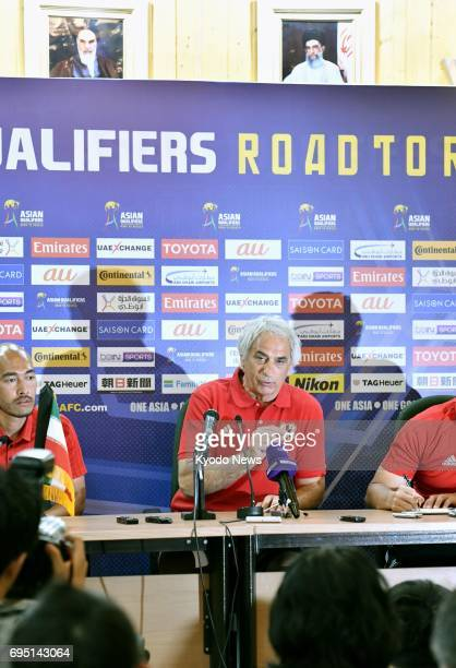 Japan coach Vahid Halilhodzic speaks at a press conference in Tehran Iran on June 12 a day before a World Cup qualifier against Iraq ==Kyodo