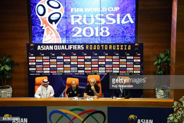 Japan coach Vahid Halilhodzic speaks on during a training session/press conference ahead of the FIFA World Cup qualifier against Saudi Arabia at King...