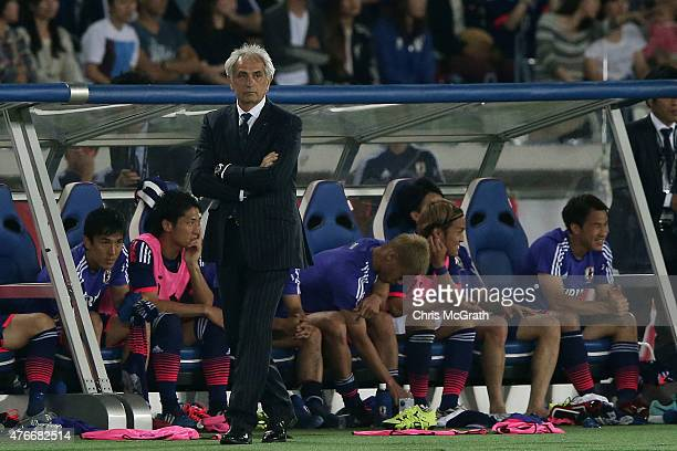 Japan coach Vahid Halilhodzic watches on from the sideline during the international friendly match between Japan and Iraq at Nissan Stadium on June...