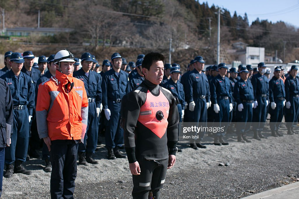 Japan Coast Guard personnel prepare to search for missing tsunami victims on March 11, 2013 in Ootsuti, Iwate prefecture, Japan. On March 11 Japan commemorates the second anniversary of the magnitude 9.0 earthquake and tsunami that claimed more than 18,000 lives.