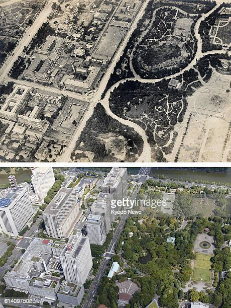 TOKYO Japan Combined aerial photos show an area around Hibiya Park and Kasumigaseki district of government ministries and agencies in Tokyo in 1922...