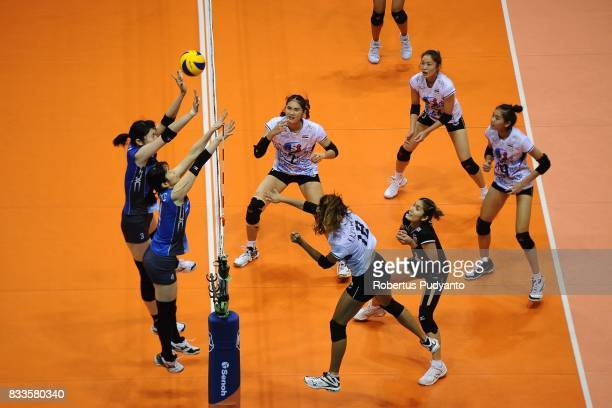 Japan compete against Thailand during the 19th Asian Senior Women's Volleyball Championship 2017 Final match at Alonte Sports Arena Binan Laguna on...