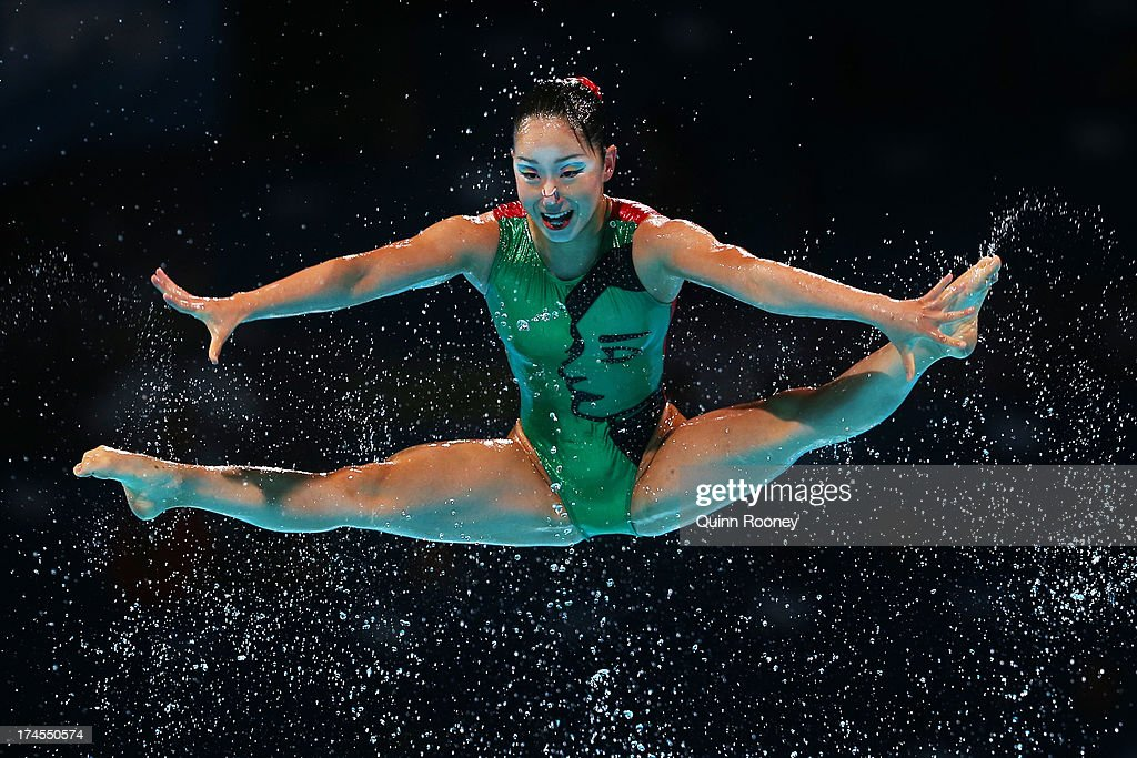 Japan compete during the Synchronized Swimming Free Combination Final on day eight of the 15th FINA World Championships at Palau Sant Jordi on July...