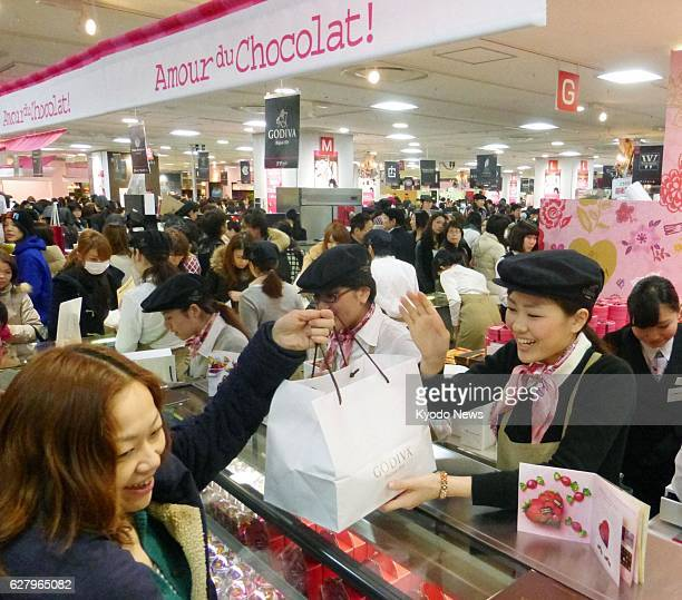 NAGOYA Japan Customers flock to a special sales space for chocolates at JR Nagoya Takashimaya department store on Feb 10 ahead of Valentine's Day The...