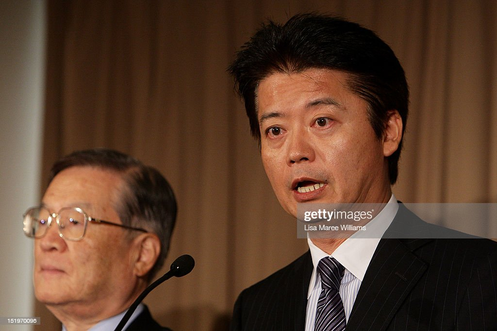 Japan Defence Minister Satoshi Morimoto and Foreign Minister <a gi-track='captionPersonalityLinkClicked' href=/galleries/search?phrase=Koichiro+Gemba&family=editorial&specificpeople=7046304 ng-click='$event.stopPropagation()'>Koichiro Gemba</a> attend a press conference during the fourth Australia-Japan 2+2 Ministerial Meeting on September 14, 2012 in Sydney, Australia. The discussions will focus on regional co-operation between the two nations, including maritime disputes.
