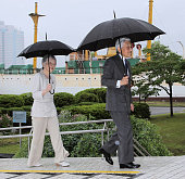 TOKYO Japan Emperor Akihito and Empress Michiko visit Tokyo University of Marine Science and Technology's Etchujima Campus in Tokyo on June 8 to view...