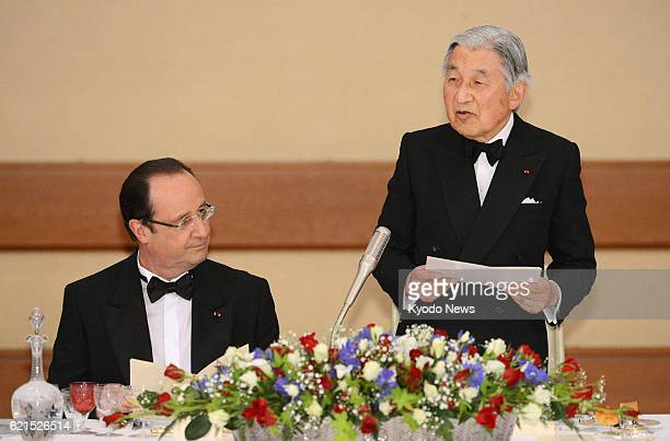 TOKYO Japan Emperor Akihito gives a speech during a banquet at the Imperial Palace in Tokyo attended by French President Francois Hollande his...
