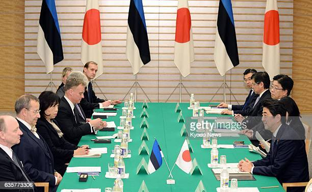 TOKYO Japan Estonian President Toomas Hendrik Ilves and Japanese Prime Minister Shinzo Abe hold talks in Tokyo on March 7 2014