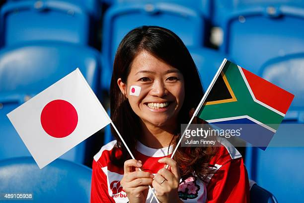 Japan fan enjoys the atmosphere before the 2015 Rugby World Cup Pool B match between South Africa and Japan at the Brighton Community Stadium on...