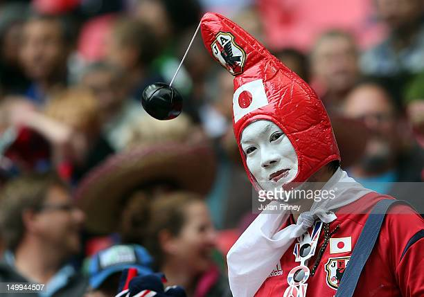 Japan fan is seen during the Men's Football Semi Final match between Mexico and Japan on Day 11 of the London 2012 Olympic Games at Wembley Stadium...