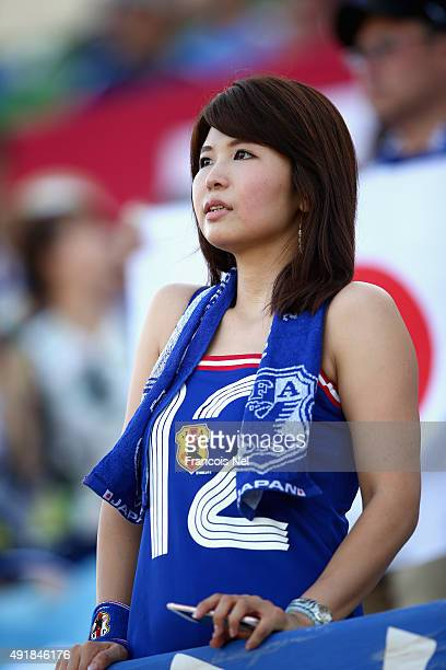 Japan fan looks on prior to the start of the 2018 FIFA World Cup Asian Group E qualifying match between Syria and Japan at Seeb Stadium on October 8...