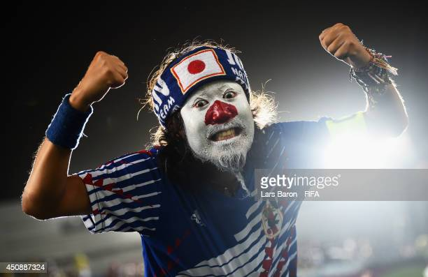 Japan fan poses prior to the 2014 FIFA World Cup Brazil Group C match between Japan and Greece at Estadio das Dunas on June 19 2014 in Natal Brazil