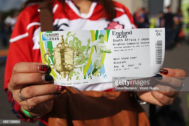Japan fan shows their ticket during the 2015 Rugby World Cup Pool B match between South Africa and Japan at Brighton Community Stadium on September...