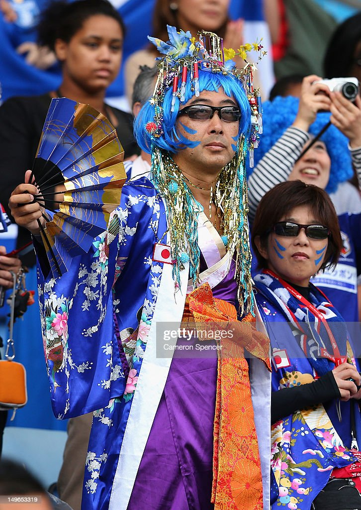 Japan fans enjoy the atmosphere during the Men's Football first round Group D Match between Japan and Honduras, on Day 5 of the London 2012 Olympic Games at City of Coventry Stadium on August 1, 2012 in Coventry, England.
