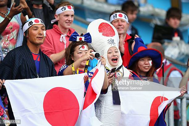 Japan fans enjoy the atmosphere during the Men's Football first round Group D Match between Japan and Honduras on Day 5 of the London 2012 Olympic...