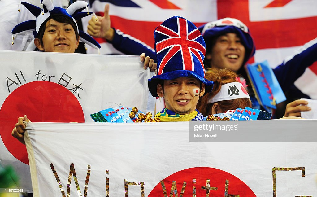 Japan fans enjoying themselves during the Women's Football Quarter Final match between Brazil and Japan, on Day 7 of the London 2012 Olympic Games at Millennium Stadium on August 3, 2012 in Cardiff, Wales.