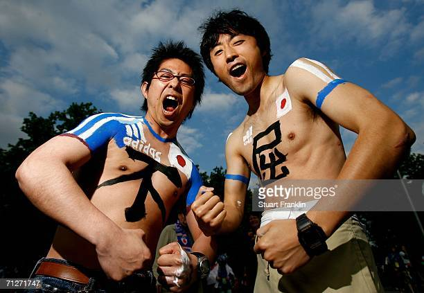 Japan fans give their support before the FIFA World Cup Germany 2006 Group F match between Japan and Brazil at the Stadium Dortmund on June 22 2006...
