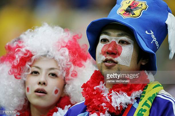Japan fans show their colours before the FIFA World Cup Germany 2006 Group F match between Japan and Brazil at the Stadium Dortmund on June 22 2006...
