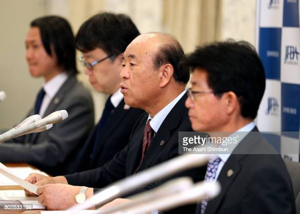 Japan Federation of Bar Association President Kazuhiko Nakamoto speaks during a press conference on June 28 2017 in Tokyo Japan The Kagoshima...