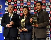Japan Football Association President Junji Ogura Women's World Player of the Year Homare Sawa and FIFA World Coach of the Year for Women's Football...