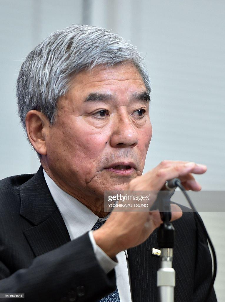 Japan Football Association president Kuniya Daini announces JFA sacked Mexican head coach Javier Aguirre at the JFA headquarters in Tokyo on February...