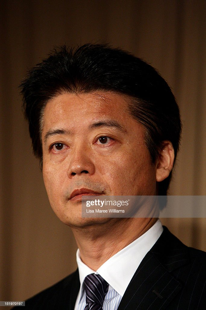 Japan Foreign Minister <a gi-track='captionPersonalityLinkClicked' href=/galleries/search?phrase=Koichiro+Gemba&family=editorial&specificpeople=7046304 ng-click='$event.stopPropagation()'>Koichiro Gemba</a> attends a press conference during the Australia-Japan 2+2 Ministerial Meeting on September 14, 2012 in Sydney, Australia. The discussions will focus on regional co-operation between the two nations, including maritime disputes.