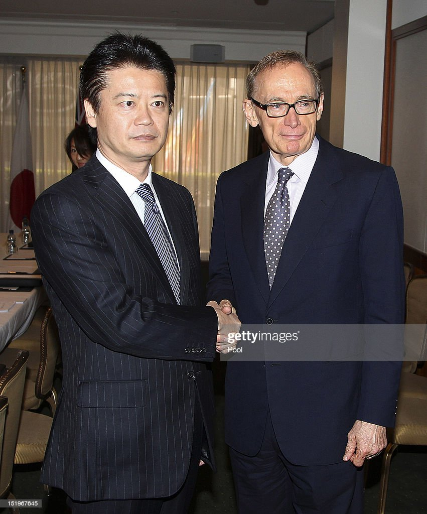Japan Foreign Minister <a gi-track='captionPersonalityLinkClicked' href=/galleries/search?phrase=Koichiro+Gemba&family=editorial&specificpeople=7046304 ng-click='$event.stopPropagation()'>Koichiro Gemba</a> is greeted by Australian Foreign Minister <a gi-track='captionPersonalityLinkClicked' href=/galleries/search?phrase=Bob+Carr&family=editorial&specificpeople=209391 ng-click='$event.stopPropagation()'>Bob Carr</a> during the fourth Australia-Japan 2+2 Ministerial Meeting on September 14, 2012 in Sydney, Australia. The discussions will focus on regional co-operation between the two nations, including maritime disputes.