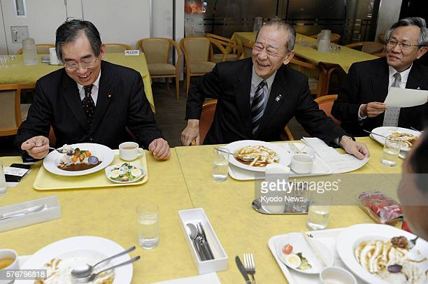 TOKYO Japan Foreign Minister Takeaki Matsumoto eats a dish of curry with vegetables from Fukushima Prefecture at the ministry's cafeteria in Tokyo on...