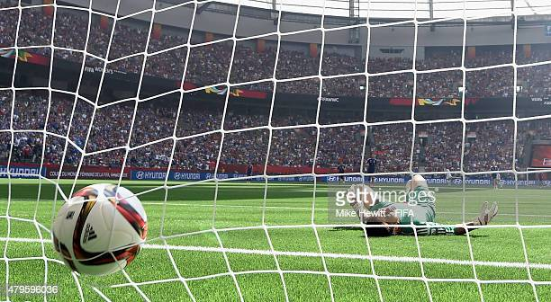Japan goalkeeper Ayumi Kaihori fails to stop a long range shot from Carli Lloyd of USA during FIFA Women's World Cup 2015 Final between USA and Japan...