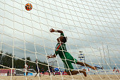 Japan goalkeeper Shingo Terukina makes a save during the Men's Beach Soccer gold medal match between Iran and Japan during the 2014 Asian Beach Games...