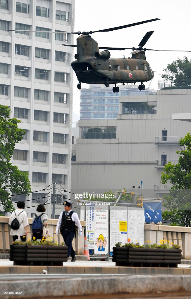 A Japan Ground Self-Defense Force helicopter arrives at the Hiroshima Peace Memorial Park in preparation for the visit by U.S. President Barack Obama on May 26, 2016 in Hiroshima, Japan. Obama becomes the first sitting U.S. president to visit Hiroshima, where the first atomic bomb was dropped in 1945 at the end of World War II.