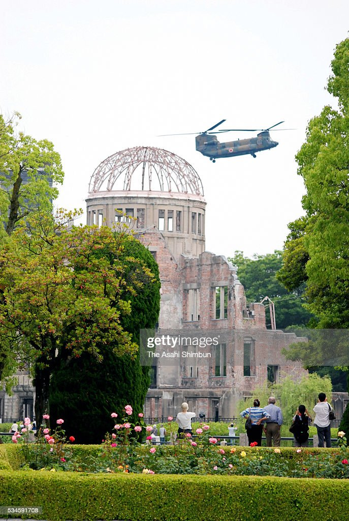 A Japan Ground Self-Defense Force helicopter arrives at the Hiroshima Peace Memorial Park in preparation for the visit by U.S. President Barack Obama on May 27, 2016 in Hiroshima, Japan. Obama becomes the first sitting U.S. president to visit Hiroshima, where the first atomic bomb was dropped in 1945 at the end of World War II.