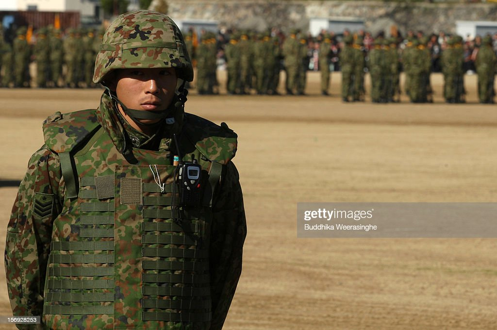 A Japan Ground Self-Defense Force (JGSDF) officer stands during the military demonstration on November 25, 2012 in Himeji, Japan. The military exhibition and demonstration marks the 61-year anniversary of the Japan Ground Self-Defense Force based in Himeji.