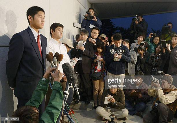 HANAMAKI Japan Hanamaki Higashi High School pitcher Shohei Otani speaks during a press conference in Hanamaki Iwate Prefecture on Oct 21 2012 Otani...