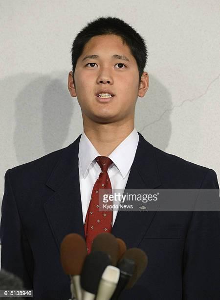 HANAMAKI Japan Hanamaki Higashi High School pitcher Shohei Otani speaks during a press conference in Hanamaki Iwate Prefecture on Oct 21 2012 Otani...