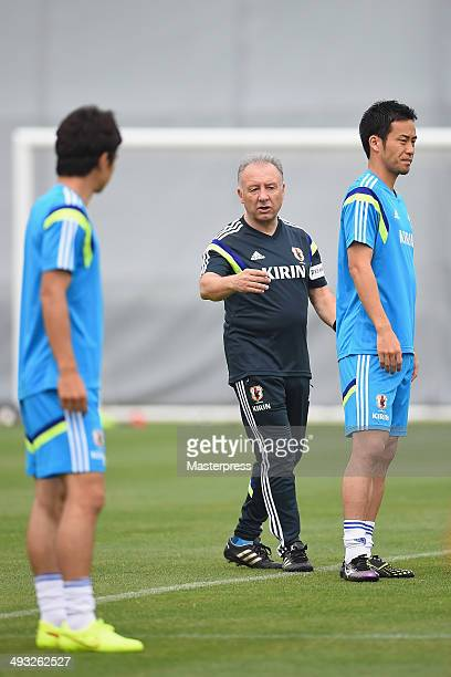 Japan head coach Alberto Zaccheroni instructs to his players during the training session on May 22 2014 in Ibusuki Kagoshima Japan