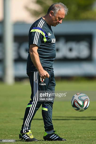 Japan head coach Alberto Zaccheroni juggles during a ball Japan training session at North Greenwood Recreation Aquatic Complex on June 4 2014 in...