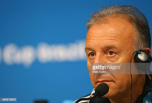 Japan head coach Alberto Zaccheroni listens to questions as he speaks to the media during a press conference at Arena Pernambuco on June 13 2014 in...