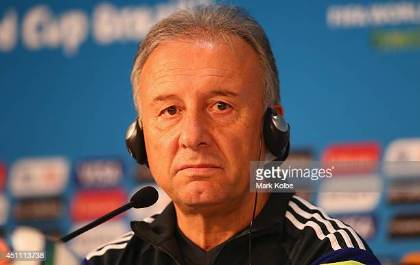 Japan head coach Alberto Zaccheroni listens to questions from the media during a Japan press conference at Arena Pantanal on June 23 2014 in Cuiaba...