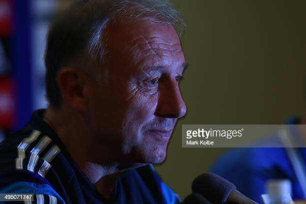 Japan head coach Alberto Zaccheroni looks on as he listens to questions from the media during a press conference at the Hyatt Regency Clearwater...