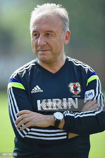 Japan head coach Alberto Zaccheroni looks on during the training session on May 21 2014 in Ibusuki Kagoshima Japan