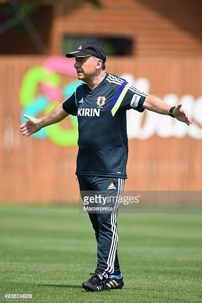 Japan head coach Alberto Zaccheroni looks on during the training session on May 23 2014 in Ibusuki Kagoshima Japan