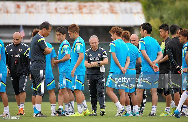 Japan head coach Alberto Zaccheroni speaks during a training session on June 3 2014 in Clearwater Florida