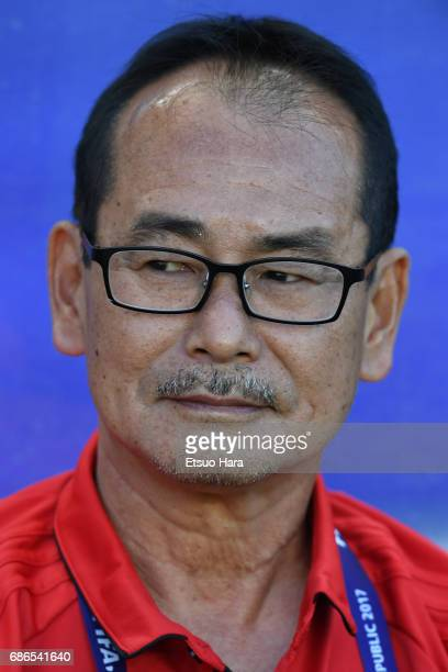 Japan head coach Atsushi Uchiyama looks on prior to the FIFA U20 World Cup SKorea Republic 2017 group D match between South Africa and Japan at Suwon...