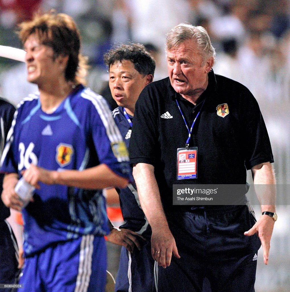 Japan head coach <a gi-track='captionPersonalityLinkClicked' href=/galleries/search?phrase=Ivica+Osim&family=editorial&specificpeople=776551 ng-click='$event.stopPropagation()'>Ivica Osim</a> reacts after Saudi Arabia's first goal during the Asian Cup qualifier match between Saudi Arabia and Japan at the Prince Abdullah Al-Faisal Stadium on September 3, 2006 in Jeddah, Saudi Arabia.
