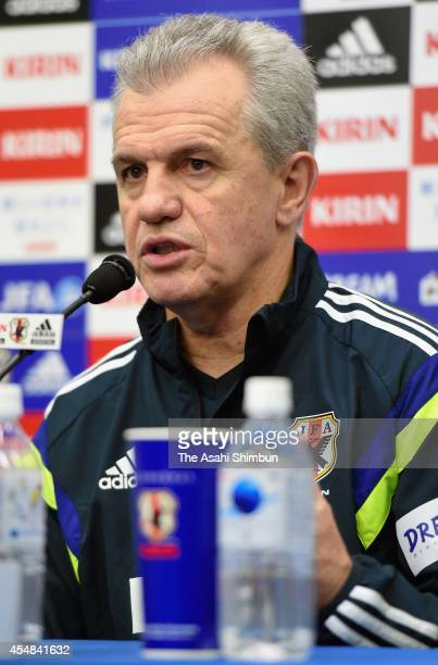 Japan head coach Javier Aguirre speaks during a press conference ahead of the international friendly match between Japan and Uruguay at Sapporo Dome...