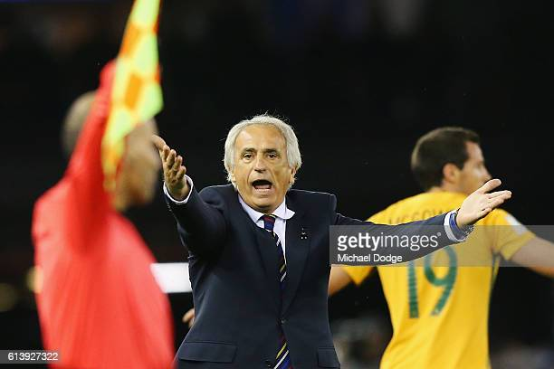 Japan head coach Vahid Halilhodzic disputes a decision with the referee during the 2018 FIFA World Cup Qualifier match between the Australian...